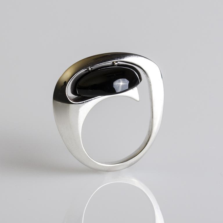 Ónix köves ezüst gyűrű, design ékszer