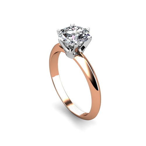 Tiffany stílusú rozé arany szoliter gyémánt gyűrű