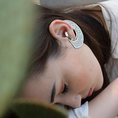 Egyedi ékszer áttört csipkés ezüst fülbevaló