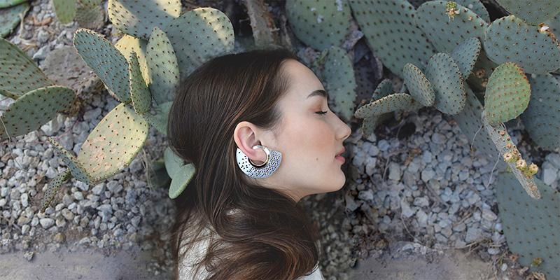 Design ékszer,ezüst fülbevaló áttört csipkés modellen