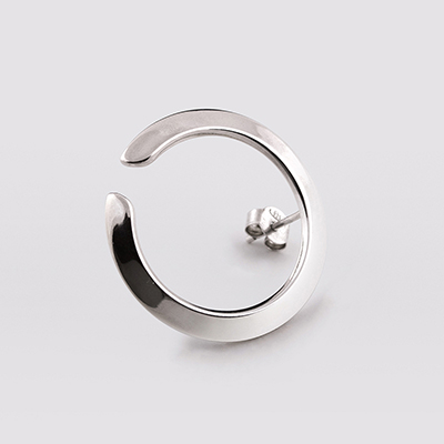 Ezüst karika fülbevaló, Basic kollekció