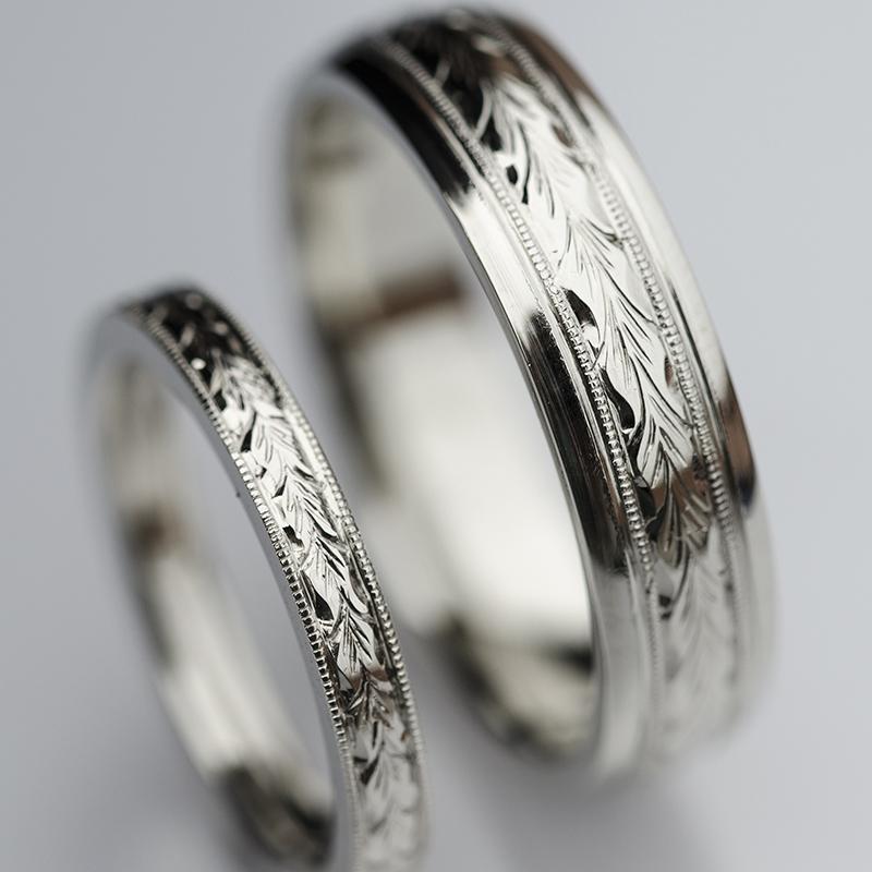 Egyedi ékszer, jegygyűrű pár, gazdagon vésett