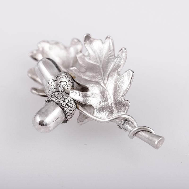 Vadászékszer,tölgyfa leveles ezüst bross, egyedi ékszer készítés