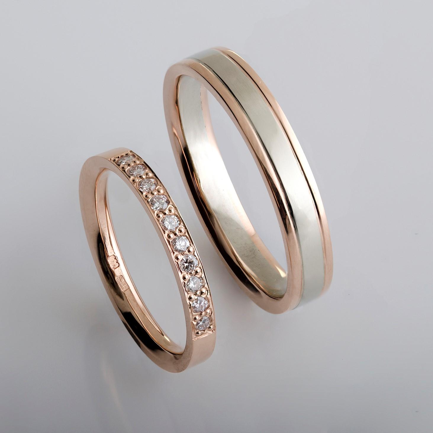 Rozé arany és fehér arany jegygyűrű pár gyémántokkal